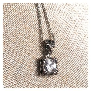 Jewelry - EUC - Square CZ pendant with silver tone chain.